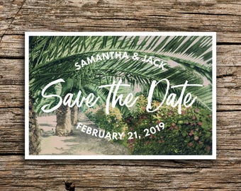 Tropical Save the Date Postcard // Botanical Greens Destination Wedding Save the Dates Botanical Palm Trees Island Hawaii Bohemian Modern