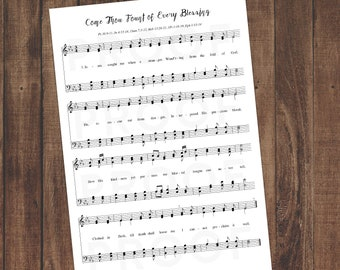 Sheet Music Wall Art, Printable Download, Come Thou Fount vs.3