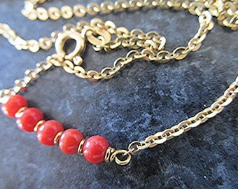 Coral necklace coral choker gold choker gold necklace 18ct gold necklace coral bead necklace 70s vintage necklace jewelry gift.