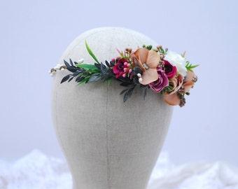 Beige Raspberry White Flower Crown Boho Woodland Wedding Bridal flower crown Wedding rustic crown Flower wedding halo Flower girl