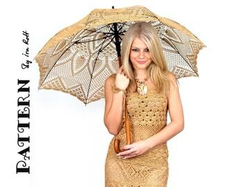 CROCHET PATTERN Pineapple Lace Parasol Wedding Stick Umbrella Crochet Pattern in PDF