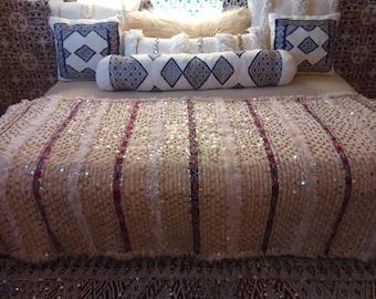 Beautiful vintage Moroccan wedding blanket , sequined handira.