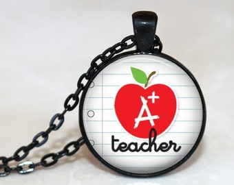 A+ Teacher Pendant, Necklace or Key Chain - End of year teacher gift, apple, lined paper