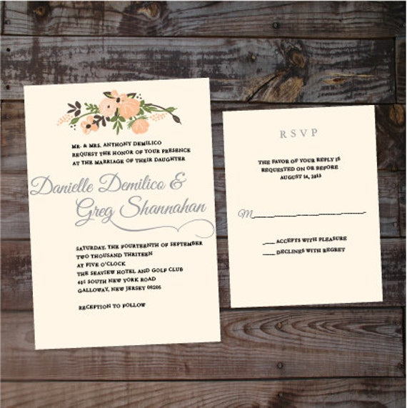 Vintage Handmade Wedding Invitations: Items Similar To Floral Wedding Invitations, Vintage