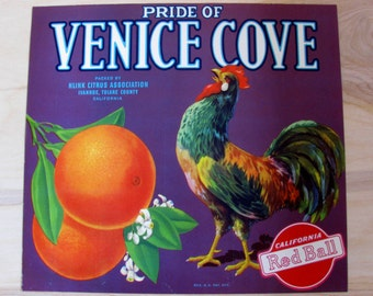 Genuine Vintage 1940s Fruit Box Label - Pride Of Venice Cove - Rooster and Oranges
