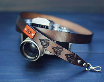 Personalized Leather Camera Strap, leather camera strap, Custom camera strap, dslr camera, Triangle Star Wars Sacred Geometry, name initials