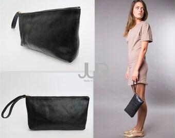Black leather zipper clutch - soft leather purse- wristlet cash envelope - wallet- large wallet- zipper pouch- black leather bag