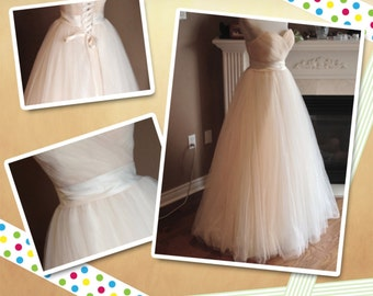 Champagne wedding dress, Champagne tulle gown, tulle wedding dress