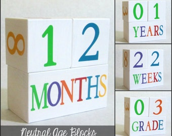 Wooden Neutral White Baby Age Blocks - Photo Prop - 0 - 43 Weeks, Months, Years and Grade