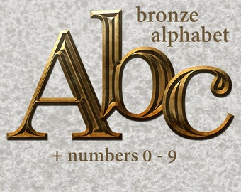 Bronze metal alphabet clipart, printable digital metal font with uppercase and lowercase letters and numbers; for commercial use