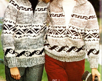 Child sized Cowichan-style Sweater Pattern in PDF format - Canadian Tradition Vintage White Buffalo Sweater Jacket pattern