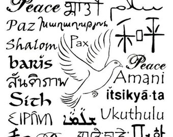 Language of Peace Unmounted rubber stamp, world peace, peace in many foreign languages, Sweet Grass Stamps No.11