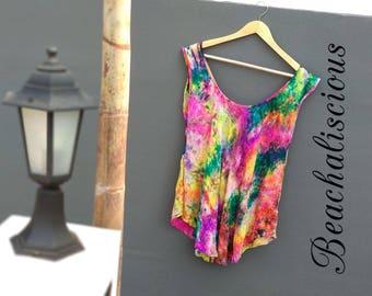 Rainbow Splash Women's Beach Swimsuit Cover Ups Pareo Bathing Suit Cover Up Tie dye Shirt Dress, Batik Swim Dress, tunics, tops Gift for Her