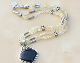 Himalayan Double Strand Citrine Necklace with Black Onyx Heart Pendant