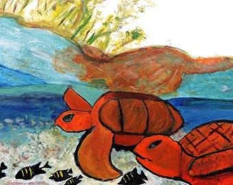 Orange Turtles in the Ocean