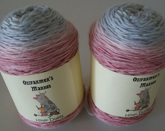 Hiker Duets.  2 x 50gm matching skeins of gradient hand-dyed fingering weight yarn.  Silver Rose. Perfect for socks or mittens.