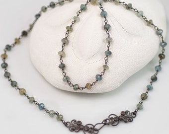 Delicate Moss Aquamarine Necklace, March Birthstone, Filigree Clasp, Wire-Wrapped Stones, Black Silver, Rosary Chain Necklace, Beaded Strand