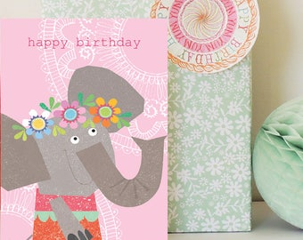 Elephant birthday card | elephant card | girls card | children's card | girls birthday | birthday card