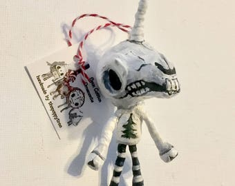 Unicorn Skull Christmas tree Spun Cotton Ornament---Christmas Holiday Hand painted Doll Decoration