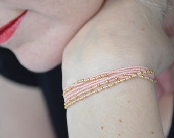 Ballerina Pink and Gold Necklace and Wrap Bracelet