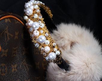 LOUISE White Fur Ear Muffs, Ear warmer, jeweled earmuffs, rhinestone earmuffs,Fur earmuffs, Crystal fur earmuffs, Gift for her white haze