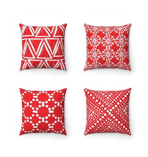 OUTDOOR Throw Pillow . Red Outdoor Pillow . Red pillow . Red Patio Cushion . Scarlet RedThrow Pillow 16 18 20 inch . Ruby Red Lumbar Pillow