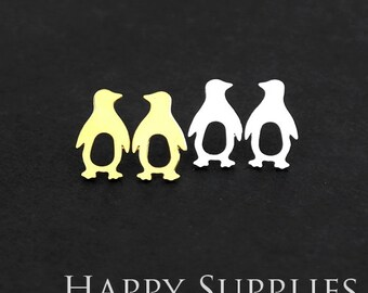 Nickel Free - High Quality Penguin Dual-used Golden / Silver Brass Earring Post Finding with Ear Stud Stopper (ZEN108)