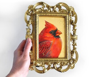 Cardinal painting - redbird art - metallic gold glam - fancy ornate frame - realistic red bird painting - red and gold - framed cardinal art