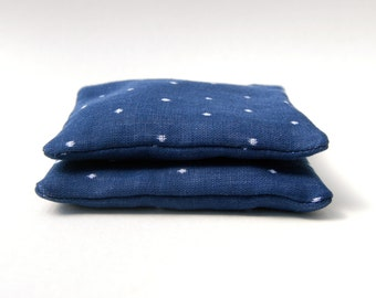 Eco Friendly Sachet - Organic Lavender - Organic Cotton  - Navy Blue Polka Dot  - Set of Two - Nautical