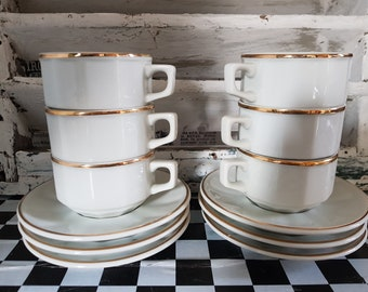 Vintage French 6 Cups & Saucers  with a creamer Porcelain...French Bistro...White and Gold..Bistro Porcelaine..French Café..French Brasserie