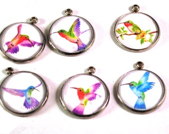 Hummingbird Charms, Bracelet Charms, Bird Charms, Hummingbird Beads, Necklace Charms, 20mm Charms, Charms for Bracelets, Charms for Jewelry