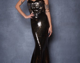 Black And Gold Sequin Gown