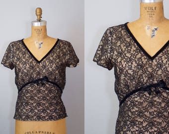 Vintage 1950s Black Lace Illusion Blouse / 50s Top / Lace Illusion Top