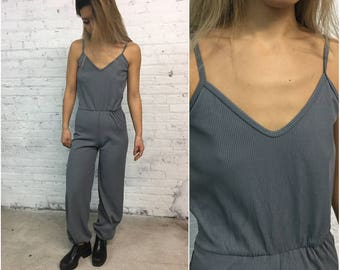 vintage 70s sleeveless disco jumpsuit / grey ribbed tank top one piece / genie style playsuit