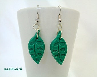 Earrings green leaf polymer Fimo clay - hand made