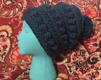 Teal Tweed Puff Slouchy with Pom