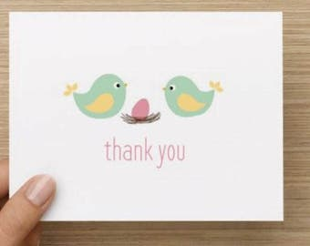 Baby thank you card: Personally designed baby girl baby shower thank you card!  Bird parents with baby egg.  Multiple pack sizes available.