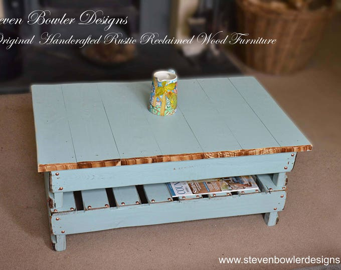 Bespoke Country Cottage Duck Egg Blue Reclaimed Wood Coffee Table with Natural Rustic Edging & Copper Tacks Handy Storage Shelf Made 2 Order