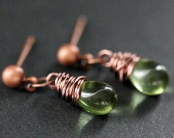 COPPER Earrings - Green Teardrop Earrings. Stud Earrings. Dangle Earrings. Post Earrings. Handmade Jewelry.