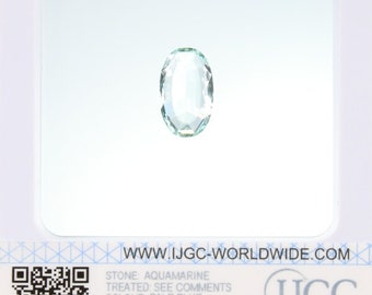 Aquamarine - Certified Oval faceted 4.65ct Pale blue Transparent Aquamarine 16x10mm Loose Gemstone