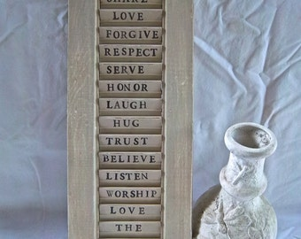 Vintage Redesign Reimagined Painted Stenciled Family Rules Shutter Display Mantle Decor Wallhanging Leaning Sign Home and Living Decor