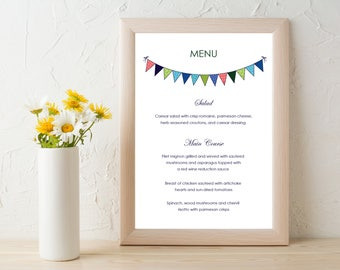 Love Birds Wedding Menu, Bunting Flags Wedding, Wedding Menu Digital File PDF Delivery