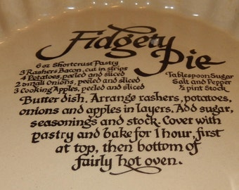 Pearsons of Chesterfield Figety Pie Recipe, Pie Plate, Pearsons Stoneware Pie Dish, Flan Dish, Quiche Dish, Oven Freezer Proof Dish
