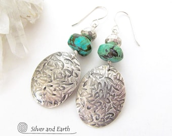 Handmade Sterling Silver Earrings with Turquoise & Pyrite Stones, Natural Turquoise Earrings, Organic Earthy Modern Artisan Silver Jewelry