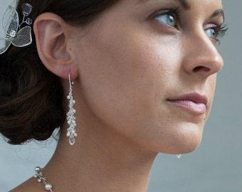 Cluster Earrings, Pearl Bridal, Long Dangle Earrings, Swarovski Wedding Jewelry, lever back earrings, Wedding Earrings Drop