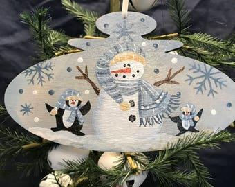 Snowman Ornament, Snowman, Ornament, Christmas Tree, Laurie Speltz, Penguin, Holiday Decor