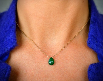 Genuine Emerald Necklace, May Birthstone, Natural Emerald Pendant, Green Gemstone Jewelry Gift for Wife 14k Rose Gold Filled Sterling Silver
