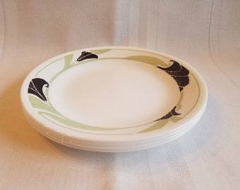 Vintage Set of 4 Corelle Black Orchid Bread Plates /  Bread and Butter Plates ~ Corelle Dinnerware