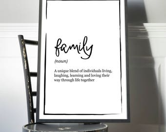 Family Definition Print - Unique blend of individuals, Family Definition Poster, Quote Print, Home Decor, Minimalist Poster, Modern Wall Art