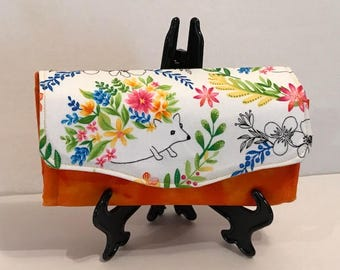 Floral & Orange Necessary Clutch Wallet (NCW) with Magnetic Snap Closure
